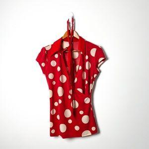 Vintage 1980s Red White Polka Dot Retro Short Sleeve Tee